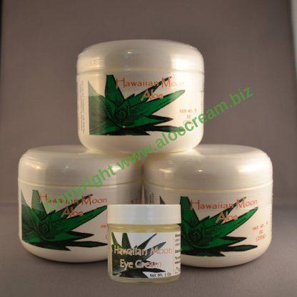 Three Hawaiian Moon 9oz jars and a free Hawaiian Moon Eye Cream