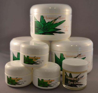 Three Hawaiian Moon 9oz jars with three free .75oz travel jars and a free Hawaiian Moon Eye Cream