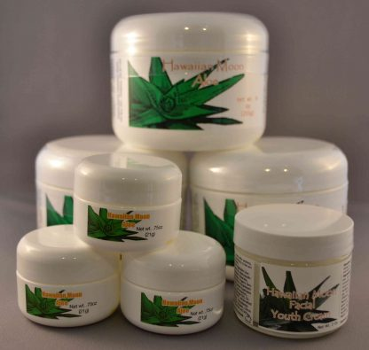 Three Hawaiian Moon 9oz jars with three free .75oz travel jars and a free Hawaiian Moon Facial Youth Cream
